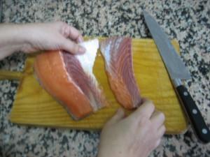Despegar después de cortar el pescado