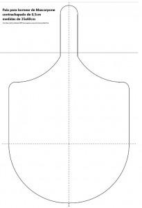 pala de horneado tamaño a escala 1:3 aprox